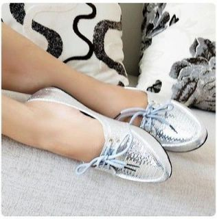 New Women's Girl Glitter Lace Up Shoes Ballet Flat CHIC Sandals