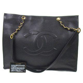 Auth CHANEL Jumbo XL Chain Shoulder Bag Black Caviar Skin Leather