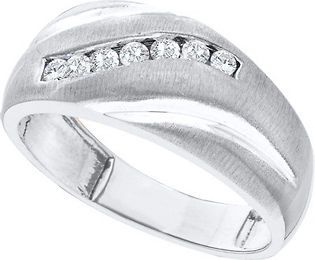 14k Brushed White Gold Mens Channel Set Diamond Wedding Fashion Band