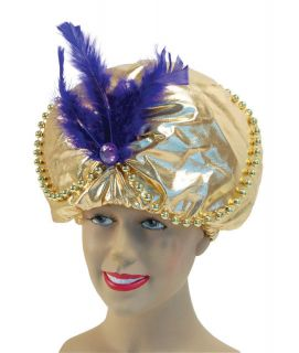 ARABIAN HAT WITH BEADS AND JEWELS SULTAN ALADDIN GENIE FANCY DRESS