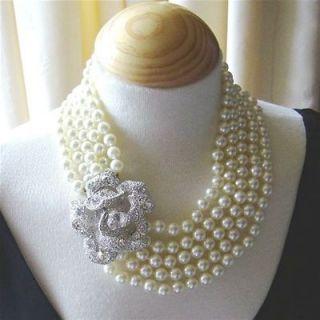 Kenneth Jay Lane KJL Pearl & Crystal Rose Necklace