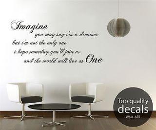 IMAGINE . JOHN LENNON WALL ART DECALS HOME DECOR VINYL QUOTE