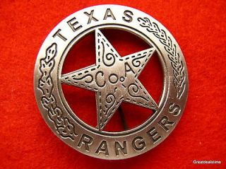 OBSOLETE WALKER TEXAS RANGERS RANGER COWBOY SHERIFF BADGE PIN SILVER