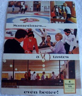 1967 CURLING BROOMS HATS CANADA SEAGRAM V.O. WHISKY AD CANADIAN