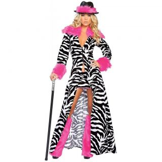 Zebra Pimp Adult Womens Sexy Pimpette Ho Halloween Costume Std/Plus