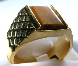 GENUINE TIGER EYE Mens Ring in Unique Setting Sizes 9   14