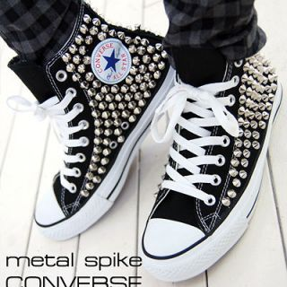 Punk Unisex Bloodycat Silver Spike Stud Shoes Original Converse All