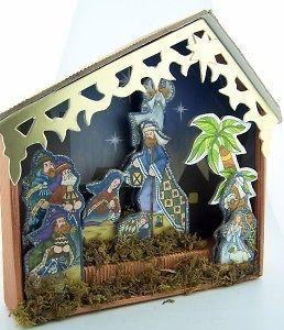MRT Nativity Set Shadow Box Crib Scene Holy Family Mary Jesus