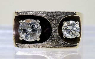 MENS VINTAGE SCULPTURED 1.40CT LARGE DOUBLE DIAMOND 14K Y/G TEXTURE