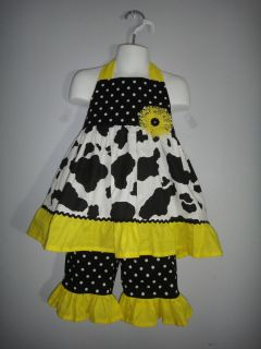 Bright yellow and black polka dot pageant casual wear outfit.3/4T Slim