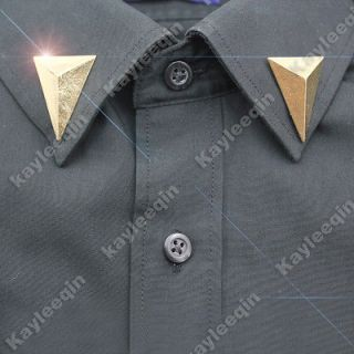 2x Gold 3D Triangle Body Stud Spike Rivet Shirt Collar Neck Tips