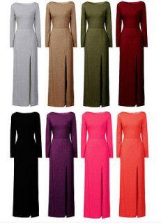 WOMENS LADIES JERSEY MAXI DRESS LONG SLEEVE PLAIN SPLIT FRONT UK SIZE