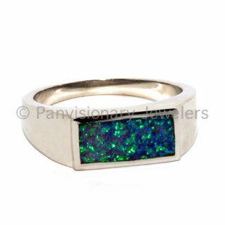 Unisex Dark Blue wGreen Fire Created Opal Signet Ring .925 Sterling