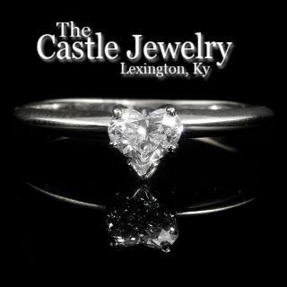 Heart Shape Diamond Tiffany Mount Solitaire Engagement Ring 14k WG .49