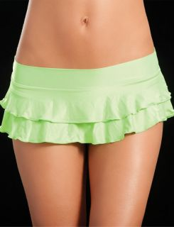 NEON GREEN UV MICRO MINI SKIRT GOGO DANCER OUTFITS RAVE CLOTHES PLUR M