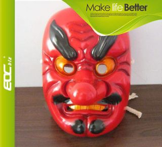 F0854 Resin Japanese Buddhist Traditional Warrior Hannya mask RED