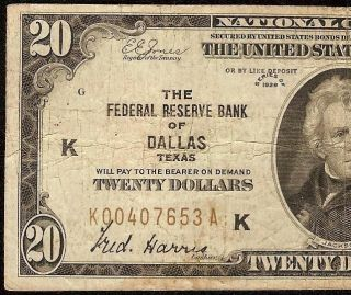 1929 $20 DOLLAR BILL DALLAS FRBN BANK NOTE NATIONAL CURRENCY MONEY Fr