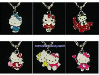 6pcs lovely hellokitty cat charm pendants necklace for girl kid party