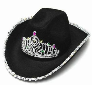 VELVET BLACK COWBOY HAT W TIARA cowgirl western wear pageant hats