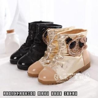 kids girls shoes shinny crystal panda mid calf boots gold/black