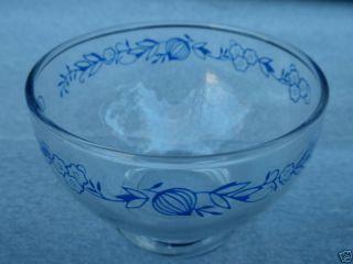 Vtg Retro Clear Glass Fruit Bowl Nappy Cup x 3 Blue Onion DOMINION
