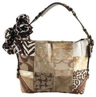 Tan Brown & Gold Patchwork Canvas Leather Hobo Bag $436 (Save $109