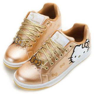 Hello Kitty Ladys Comfy Sneakers Low Profile Shoes Gold 910613#H3