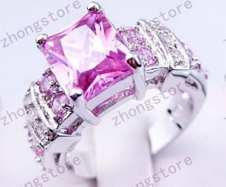10 New pink sapphire lady/mens 10KT white Gold Filled Ring free