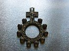 ANTIQUE CATHOLIC BASQUE ROSARY RING GOLD PLATED ENAMEL