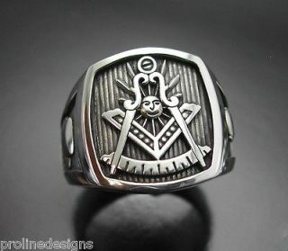 PERSONALIZED Past Master #008OP Sterling Silver Masonic Ring Oxidized