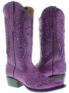 Womens cowboy boots ladies purple leather sequins western riding