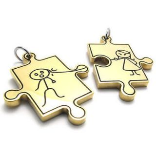 Mens Gold Love Puzzle Jigsaw Stainless Steel Pendant Necklace US120362