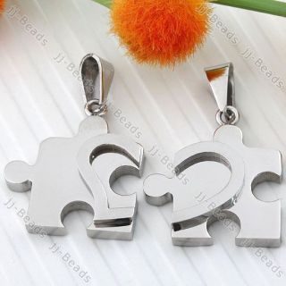 1Set Silver Tone Love Heart Puzzle Jigsaw Stainless Steel Pendant