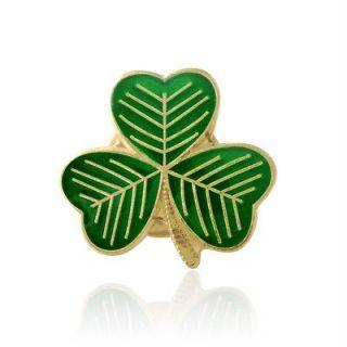 Gold Plated Green Clover Leaf Shamrock Lapel Pin Badge Irish St