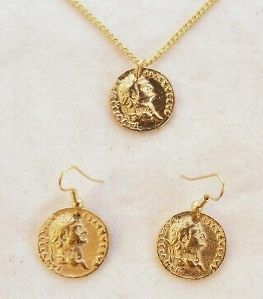Roman Coin Necklace & Earrings Set, 22ct Gold Plated