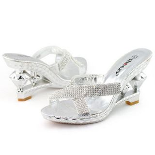SHOEZY Womens Silver Rhinestone Wedding Prom Dress Wedges Heels Mules
