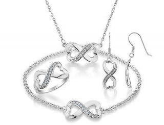 White Topaz Infinite Love Heart Ring OR Pendant OR Earings OR Bracelet