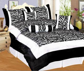 Black/White Zebra Flocking Bedding Comforter Set Queen