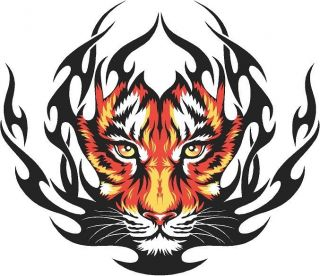 Tiger flame vinyl graphic truck race car go kart window or hood decal
