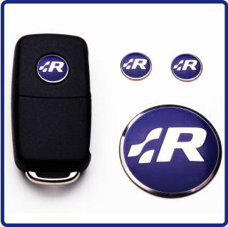 Blue RLine Fob Badges + Steering Wheel Badge Key Emblem Volkswagen R