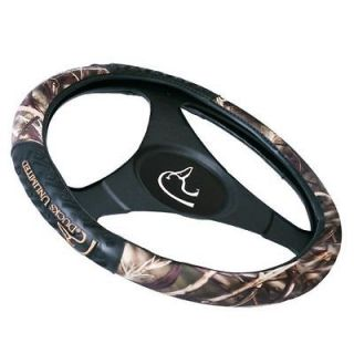 DSW3701 DUCKS UNLIMITED STEERING WHEEL COVER W/ REALTREE 4 MAX CAMO