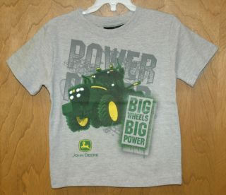 NEW Gray John Deere BOYS Big Wheels Big Power Tractor T Shirt Sizes 4