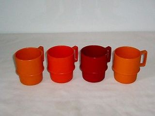 Coffee Mug Set Cups Autumn Colors Stackable Rim Handle Retro X 4