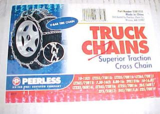 New In Box 1 Pair (2 Chains) PEERLESS Truck Tire Chains (Singles, V