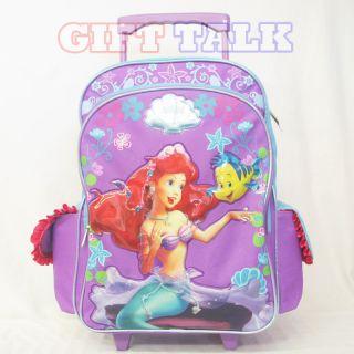 Disney Princesses Ariel w/Flounde Large Rolling School Backpack, Bag