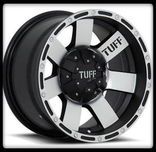 TUFF T02 BLACK RIMS / 33X12.50X15 LT NITTO TRAIL GRAPPLER WHEELS TIRES