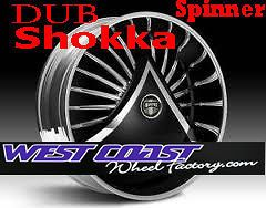 DUB Spinner 26 WHEEL Set SKIRTZ Spinners NEW DUB SHOKKA Spin Floater