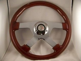 Wood Mahogany 14 Steering Wheel 4 Spoke with 3/4 tapered shaft