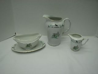 Vintage VICTORIA China Czechoslovakia Pitcher Gravy Moose/Waterfal l