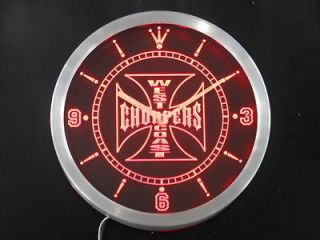 nc0179 r West Coast Choppers Bike Neon Sign LED Clock
